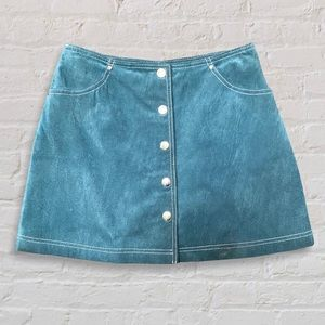 Forever 21 Genuine Suede Button Down Mini Skirt